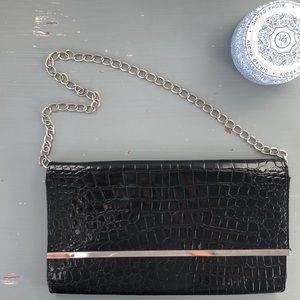 Handbags - Black Faux Reptile Clutch